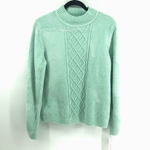 Alfred Dunner Teal Green Cable Knit Sweater